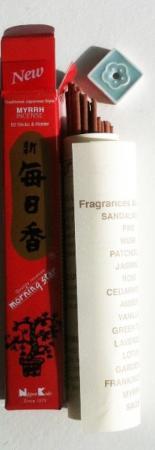 Morning Star Myrrh Incense | Box of 50 sticks & holder by Nippon Kodo
