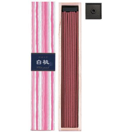 White Peach fragrance Japanese Incense | Kayuragi by Nippon kodo | Box of 40 Sticks & holder