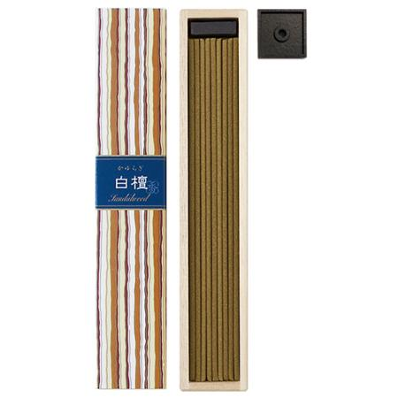 Sandalwood fragrance Japanese Incense | Kayuragi by Nippon Kodo | Box of 40 Sticks & holder