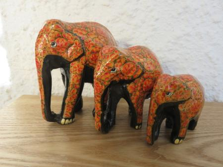 Orange with Gold Feet Themed Kashmiri Elephant Family