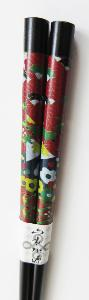 Chopsticks | 1 pair | Black lacquered Bamboo | Fan design
