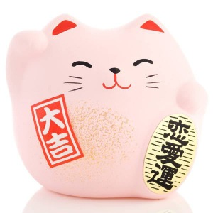 Japanese Lucky Cat   Feng Shui   Love   Small Pink   Valentines