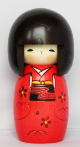 Kokeshi Doll | Traditional Japanese | Happy Girl Red