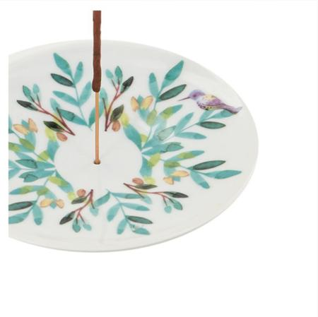 Aquarelle (Watercolour) Painted Porcelain Saucer | Incense Holder / Burner
