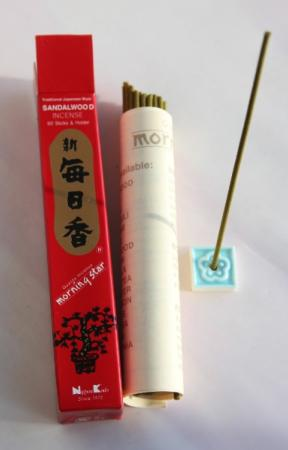 Morning Star Sandalwood Incense | Box of 50 Sticks & Holder by Nippon Kodo