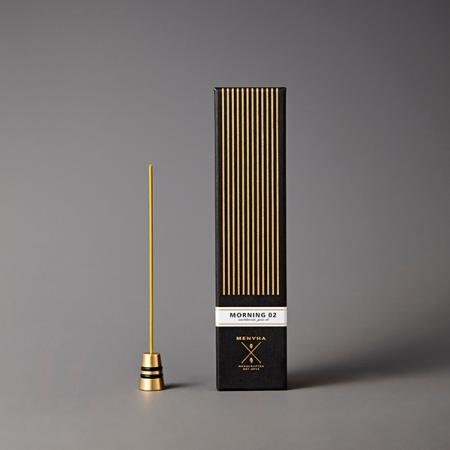 Fine Japanese Incense by Menuha | Morning 02 | 30 Sticks in a Glass Tube with Brass Holder