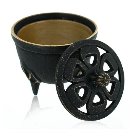 Cast Iron Incense Bowl with Lid   Black & Gold   by Japanese maker Iwachu
