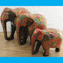 Kashmiri Papier Mache Elephants | sold by Vectis Karma | Online Incense Shop