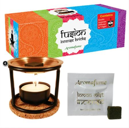 Aromafume Incense Brick | Fusion Sample Set | Complete kit including diffuser, 20 bricks and candle