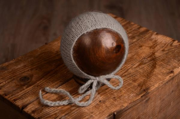 Bonnet mohair gris perle