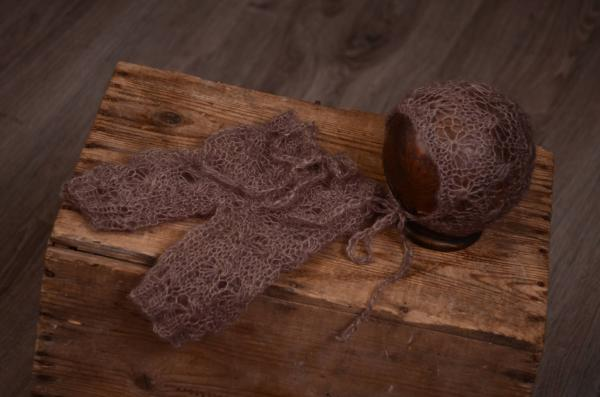 Mink perforated mohair hat and pants set