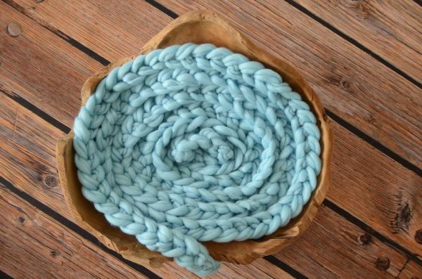 Tresse en laine bleu ciel clair