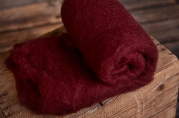 Burgundy natural wool blanket