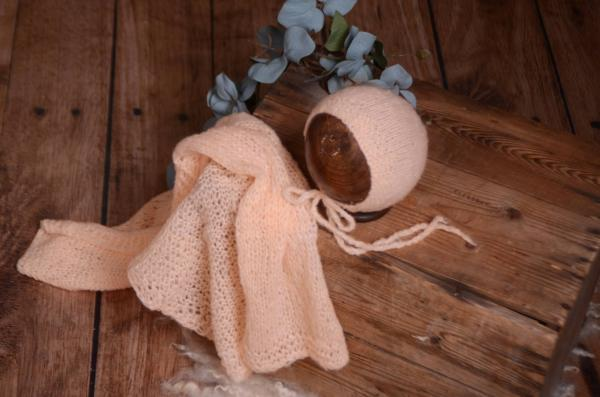 Set de wrap en mohair lisse et bonnet saumon