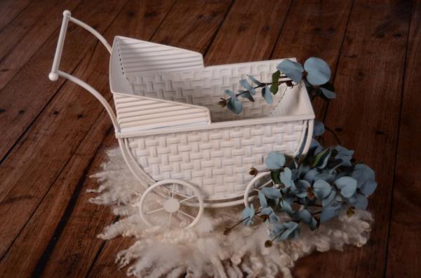 White vintage small pram