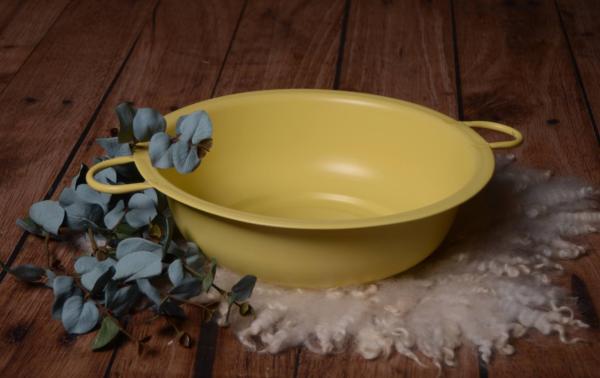Seau vintage rond jaune 38 cm
