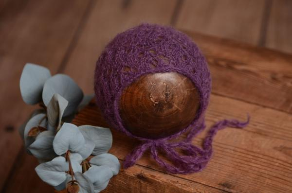 Bonnet mohair fantaisie violet