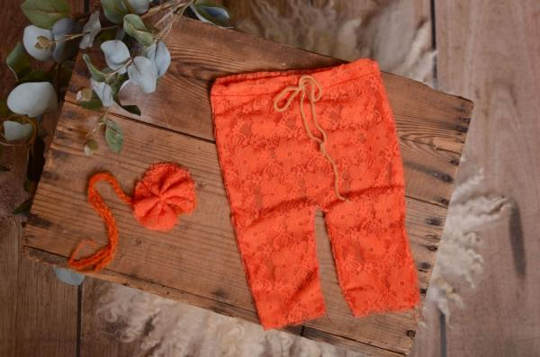 Orange pants and headband lace set