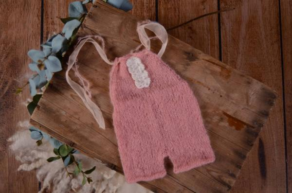Pink mohair short dungaree with bow and pearls