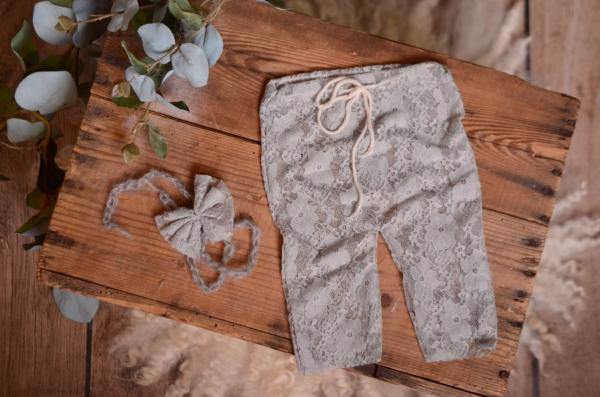Light grey pants and headband lace set