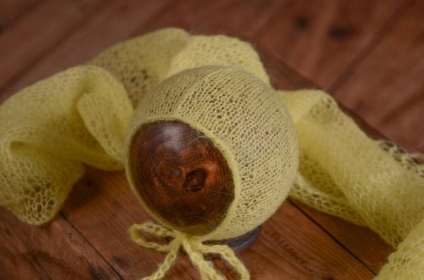 Yellow mohair wrap and hat set