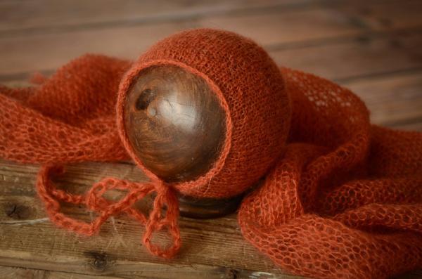 Set Wrap aus Angora mit Mütze in Dunkelorange