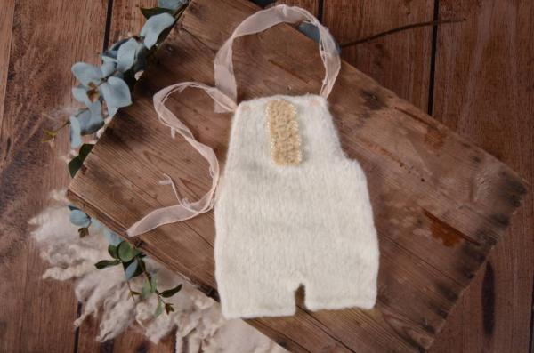 White mohair short dungaree with bow and pearls