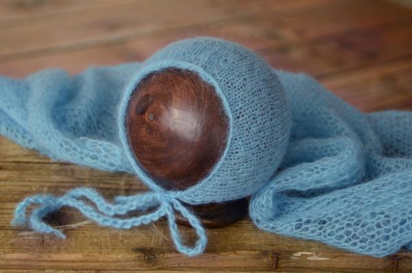 Set Wrap aus Angora mit Mütze in Blau