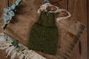 Peto angora corto con lazo y perlas verde botella