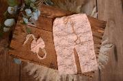 Set de encaje pantalón y diadema rosa claro
