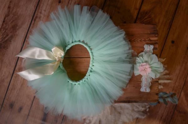 Aquamarine tulle tutu and flower headband set