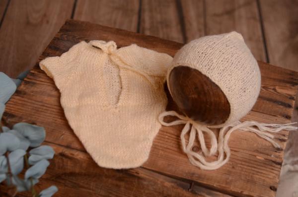 Body in angora con berretto vaniglia