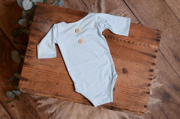 Justaucoprs maille bleu bébé avec manches