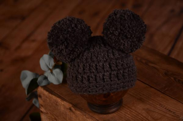 Grey hat with pompoms