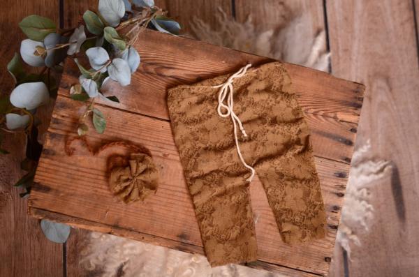 Brown pants and headband lace set