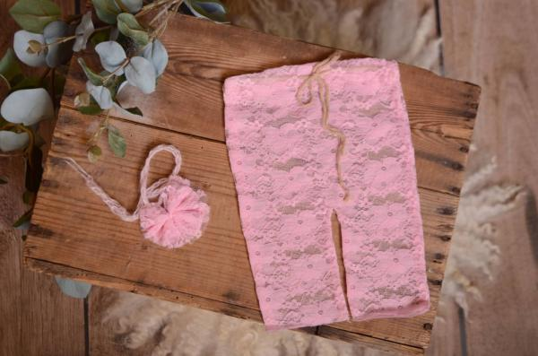 Pink pants and headband lace set