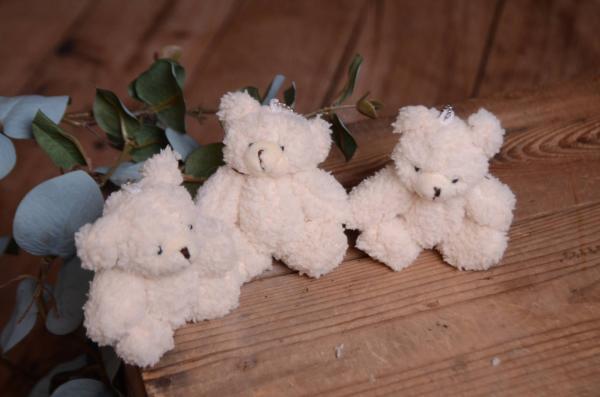 Pack trois petit ours blanc écru 11 cm