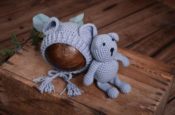 Set de bonnet et d'ours en peluche gris bleuâtre