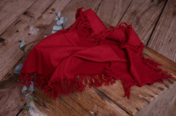 Tissu avec franges rouge bordeaux