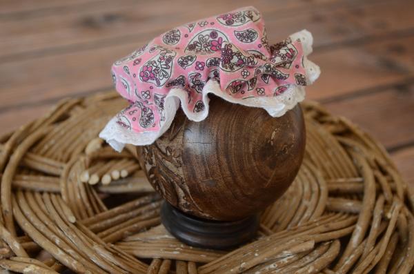 Bonnet de bain imprimé rose et blanc