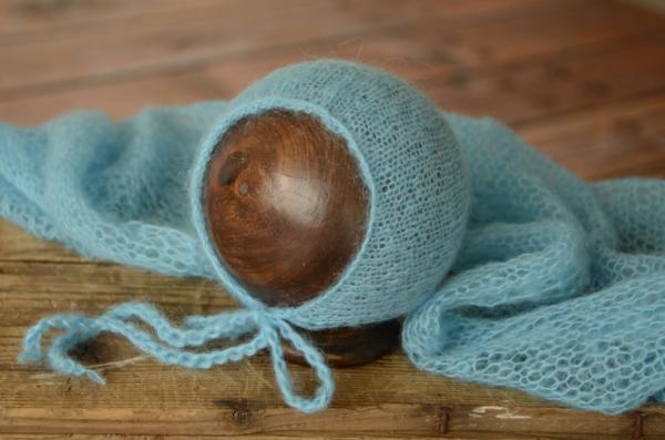 Set wrap e berretto di angora turchese