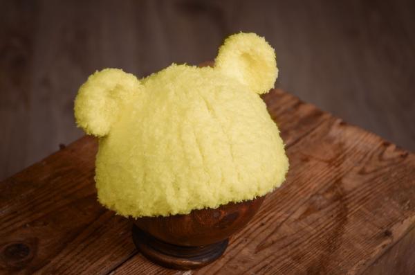 Mütze aus Schafwolle in Gelb