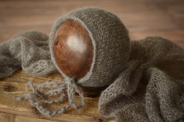 Set Wrap aus Angora mit Mütze in Dunkelgrau