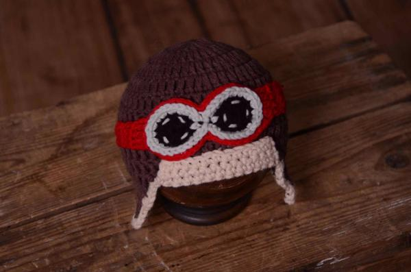 Red aviator hat