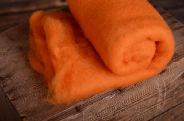 Manta de lana natural naranja