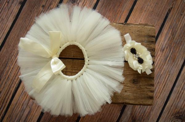 Off-white tulle tutu and headband set