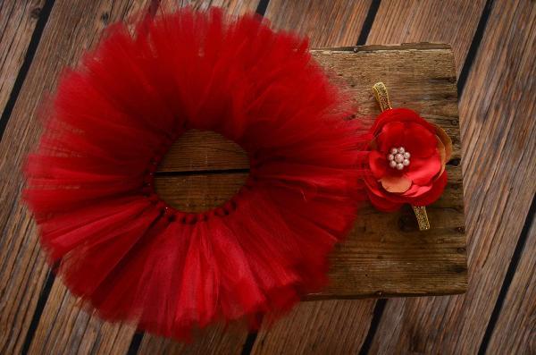 Set Tutu aus Tüll und Kopfputz mit Blume in Rot