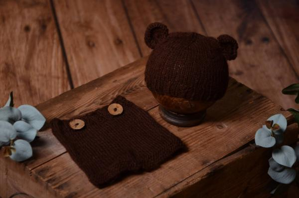 Dark brown mohair set with ears