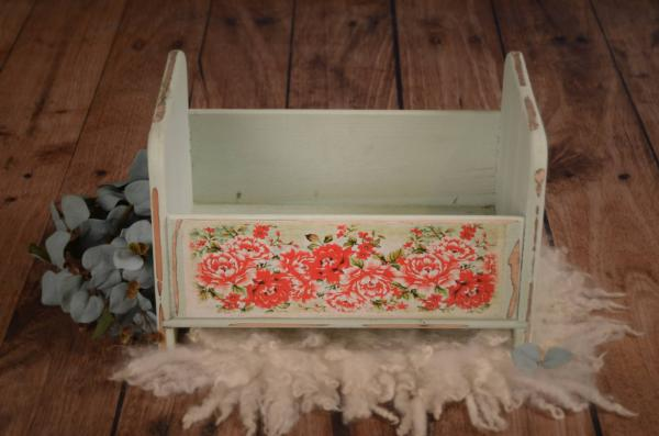 Greenish blue printed rustic cot 41 cm