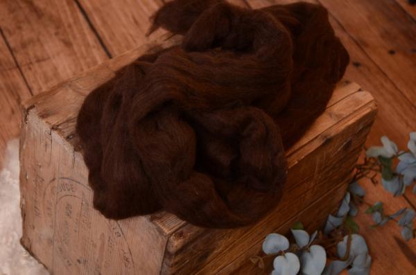 Laine naturelle peignée marron foncé